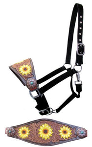 BOLD TOOLED AND PAINTED SUNFLOWERS AND SUNFLOWER CONCHOS BRONC NOSE HALTER