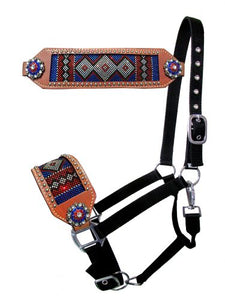 PATRIOTIC COLORS TRIBAL HEAT LAID CRYSTAL BRONC NOSE HALTER