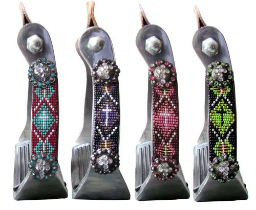 CROSS BEADED ALUMINUM STIRRUPS WITH CRYSTAL CONCHOS ~ CHOOSE COLOR