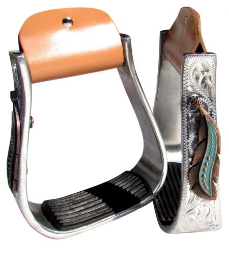FEATHER CONCHO SILVER ENGRAVED STIRRUPS