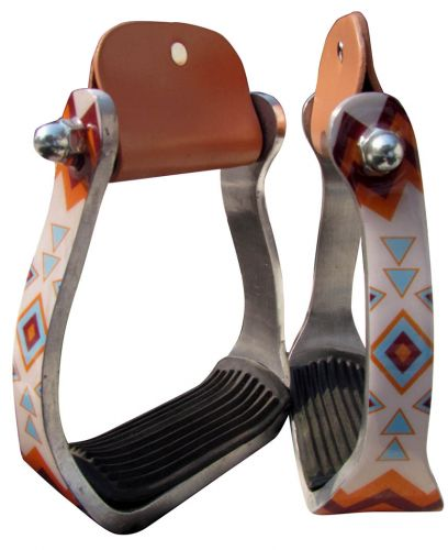 ORANGE AND LIGHT BLUE NAVAJO PRINT ALUMINUM STIRRUPS