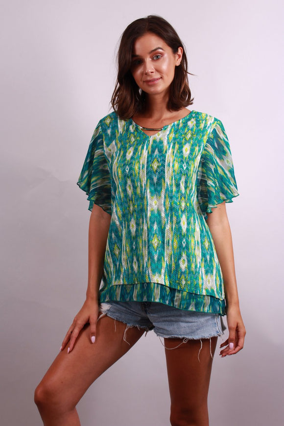 TRIBAL PRINT PULL OVER BLOUSE