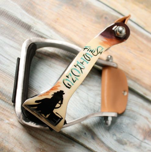 FINISH STRONG BARREL RACER PRINT ALUMINUM LIGHTWEIGHT STIRRUPS