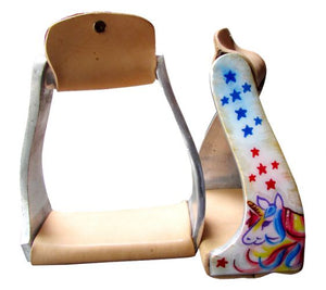 """YOUTH/PONY"" RAINBOW UNICORN STARS ALUMINUM STIRRUPS"