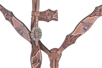 BARREL RACER PAINTED ON TURQUOISE INLAY FLORAL TOOLED BRIDLE SET