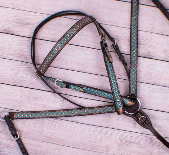 TURQUOISE FLORAL PAINTED BRIDLE SET