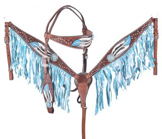 FEATHER DESIGN TOOLED AND PAINTED WITH METALLIC TURQUOISE FRINGE BRIDLE SET