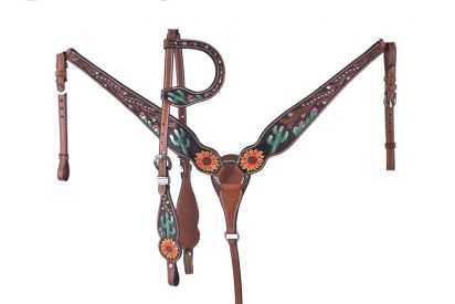 CACTUS AND SUNFLOWER HAND TOOLED AND PAINTED BRIDLE SET
