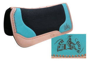"""TURN N' BURN"" TURQUOISE PRINTED EMBLEM FELT SADDLE PAD"