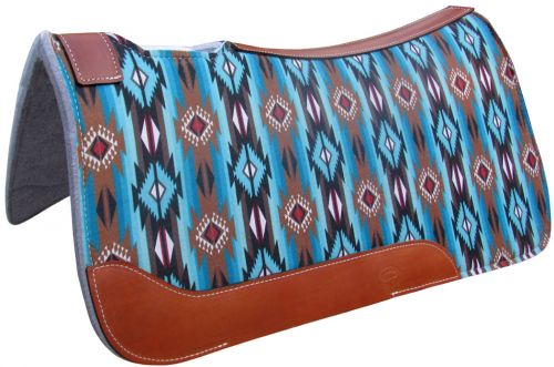TURQUOISE AND BROWN SOUTHWESTERN PRINTED SOLID FELT SADDLE PAD