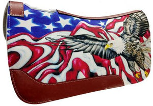 AMERICAN EAGLE AND FLAG FELT SADDLE PAD