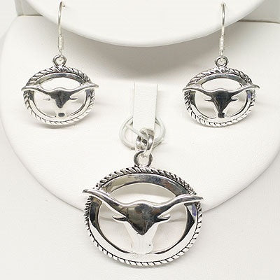 WESTERN LONGHORN/STEER HEAD NECKLACE AND EARRING SET