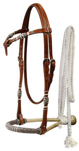 RAWHIDE BOSAL WITH COTTON MACATE REINS