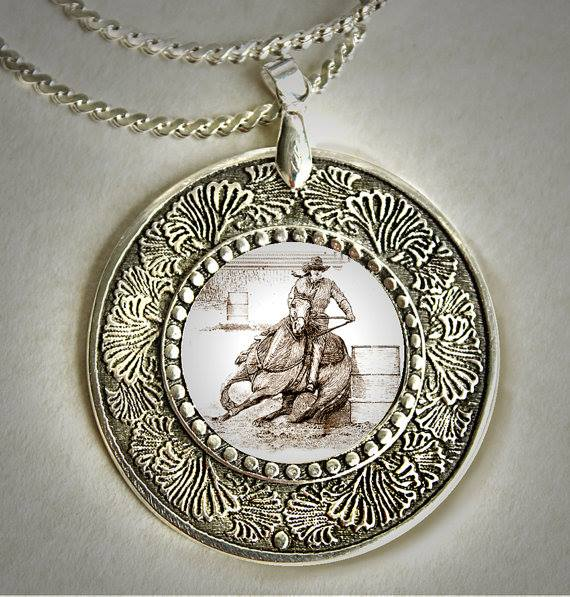 BARREL RACER ART PEWTER NECKLACE ~ HORSE LADY