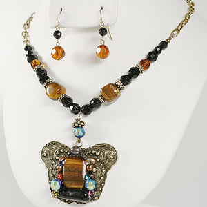GENUINE TIGER EYE, PEARL AND SWAROVSKI CRYSTAL BUTTERFLY NECKLACE SET