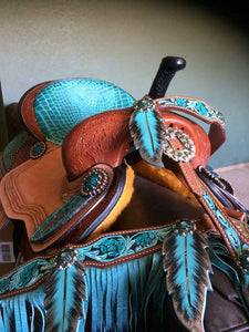 "14"" 15"" 16"" TURQUOISE ALLIGATOR PRINT SEAT AND ACCENT BARREL SADDLE"