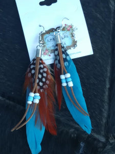 GENUINE FEATHER EARRINGS ~ CHOOSE COLOR