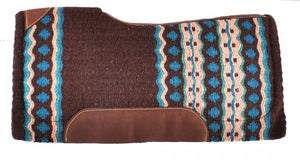 TURQUOISE AND BROWN WOVEN DESIGN MEMORY FELT BOTTOM SADDLE PAD