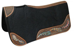 FEATHERS AND BASKET WEAVE TOOLED AND PAINTED FELT SADDLE PAD