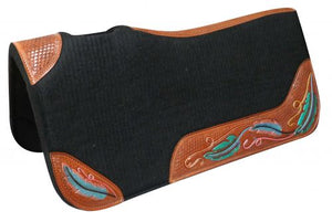 "32"" x 31"" METALLIC FEATHER HAND TOOLED AND PAINTED LEATHER SIDE WARES FLT SADDLE PAD"