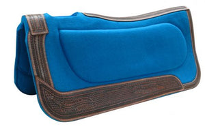 "32"" X 32"" TURQUOISE FELT BUILD UP PAD WITH TOOLED LEATHER SIDEWARES"