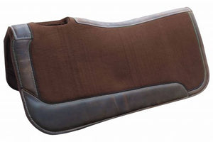 BROWN FELT WITH SOLID LEATHER SIDE WARES SADDLE PAD