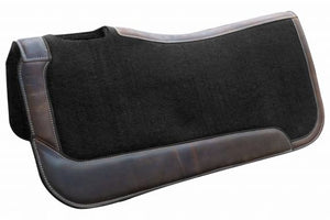 BLACK FELT WITH BROWN LEATHER SIDE WARES FELT SADDLE PAD