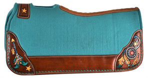DREAM CATCHER, ARROWS, FEATHERS AND STARS ~ TEAL FELT SADDLE PAD