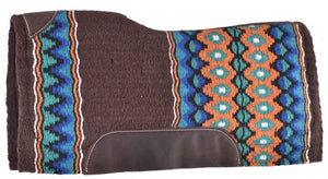 BLUE, ORANGE, TURQUOISE AND BROWN WOVEN DESIGN MEMORY FELT BOTTOM SADDLE PAD