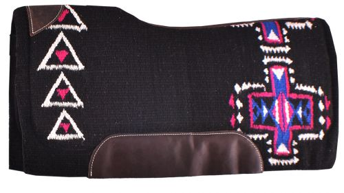 BLUE AND PINK CROSS WOVEN DESIGN MEMORY FELT BOTTOM SADDLE PAD