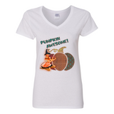 """PUMPKIN AWESOME"" V NECK COTTON T SHIRT"
