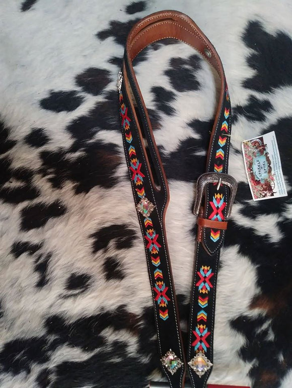SOUTHWESTERN DESIGN EMBROIDERED SUEDE OVERLAY HEADSTALL ~ ONE OF A KIND!