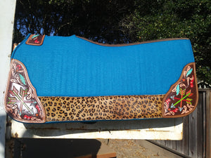 ARROWS AND LEOPARD PRINT TURQUOISE FELT PAD