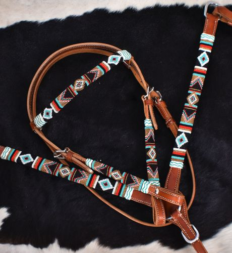 TEAL AND RED NAVAJO DESIGN BEADED BRIDLE SET