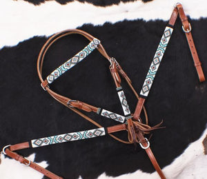 TURQUOISE AND RED NAVAJO BEADED BRIDLE SET