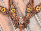 SUNFLOWER WITH GREEN TRIM TOOLED AND PAINTED VINTAGE BRIDLE SET
