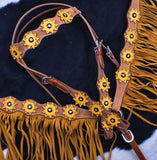 SUNFLOWER OVERLAY CONCHOS WITH YELLOW FRINGE BRIDLE SET