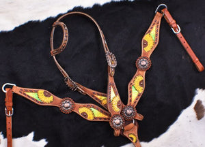 SUNFLOWER WITH MULTI COLOR METALLIC INLAY BRIDLE SET