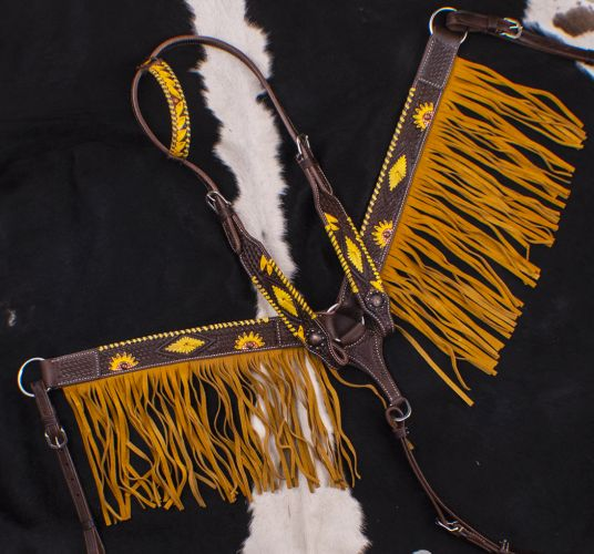 TOOLED AND PAINTED SUNFLOWER DARK OIL ONE EAR FRINGE BRIDLE SET