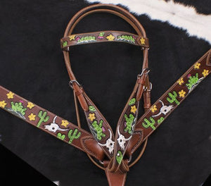 LONG HORN/STEER HEAD SKULLS WITH CACTUS AND FLOWERS TOOLED/PAINTED BRIDLE SET