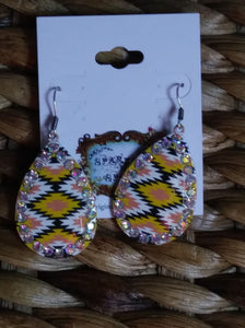 WESTERN TRIBAL AZTEC PRINT EARRINGS
