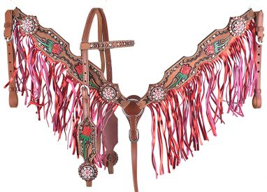 ROSES TOOLED AND PAINTED BRIDLE SET WITH METALLIC PINK FRINGE