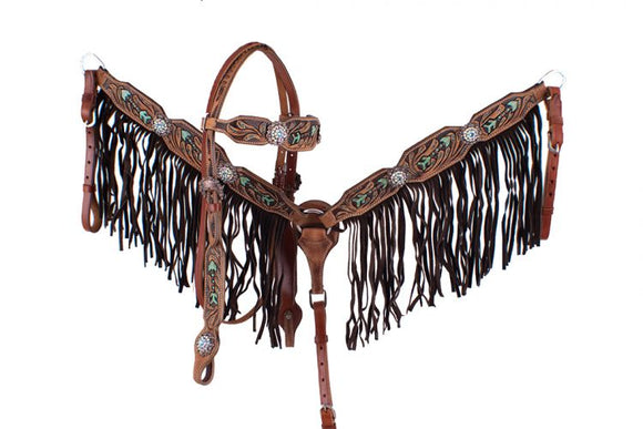 ARROWS TOOLED AND HAND PAINTED FRINGE BRIDLE SET ~ WITHER STRAP AVAILABLE