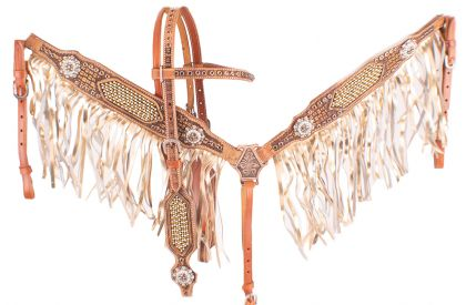 GOLD AND PEARL INLAID WITH GOLD METALLIC FRINGE BRIDLE SET