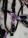 PATRIOTIC BEADED TRIBAL NYLON HEADSTALL, TIE DOWN AND WITHER STRAP ~one of a kind
