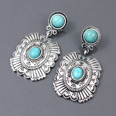 SOUTHWESTERN MEDALLION AND TURQUOISE POST EARRINGS