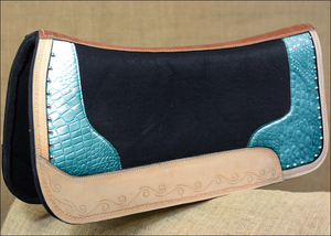 CROC PRINT LEATHER, METALLIC AND COLOR GEL FELT SADDLE PADS ~ CHOOSE COLOR