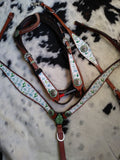 CACTUS PRINT AND CACTUS CRYSTAL CONCHOS BRIDLE SET WITH WITHER STRAP
