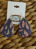 FEATHER PRINT LEATHER EARRINGS