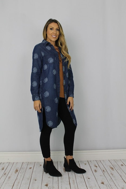 L&B DENIM INDIAN CHIEF NS HEADDRESS PRINT TUNIC